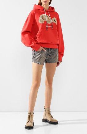 Женские джинсовые шорты FILLES A PAPA серого цвета, арт. NITR0 CRYSTAL DENIM | Фото 2