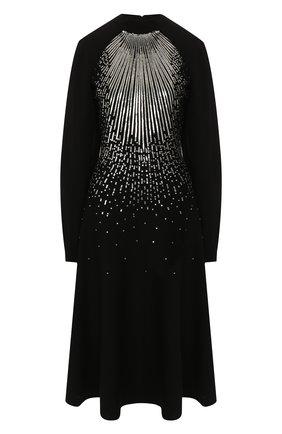 Платье из смеси шерсти и вискозы Givenchy черное | Фото №1