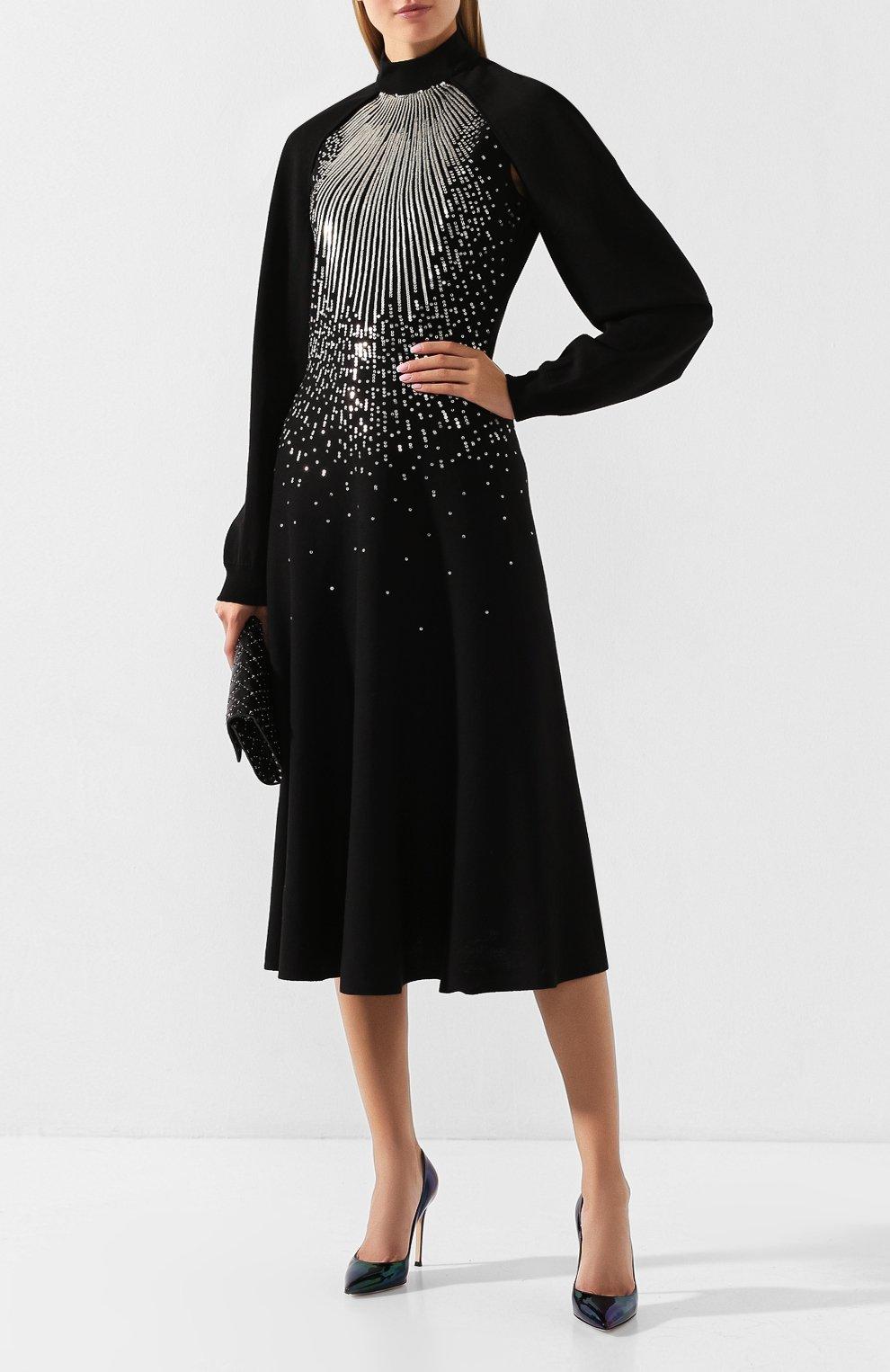 Платье из смеси шерсти и вискозы Givenchy черное | Фото №2