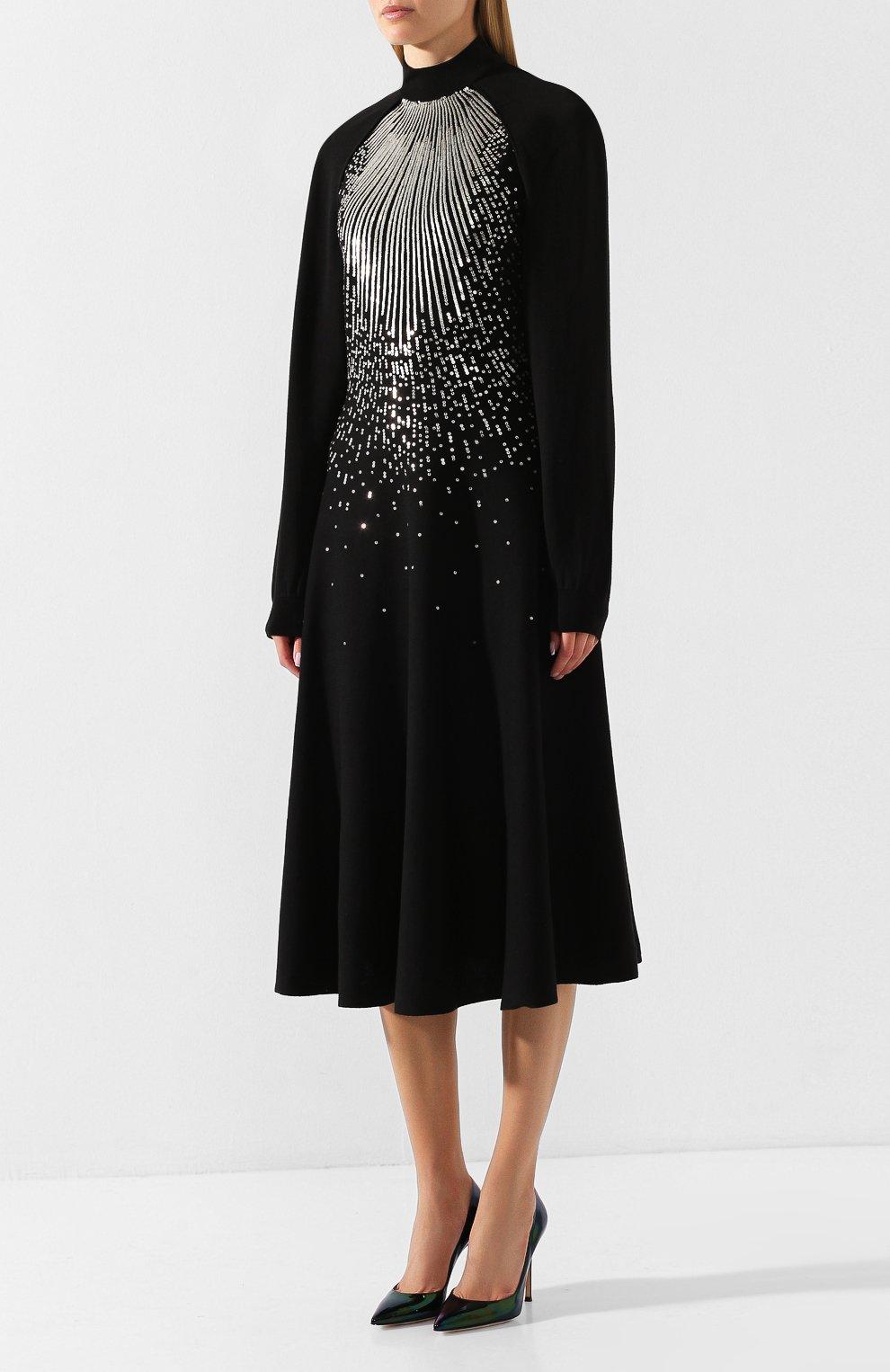 Платье из смеси шерсти и вискозы Givenchy черное | Фото №3