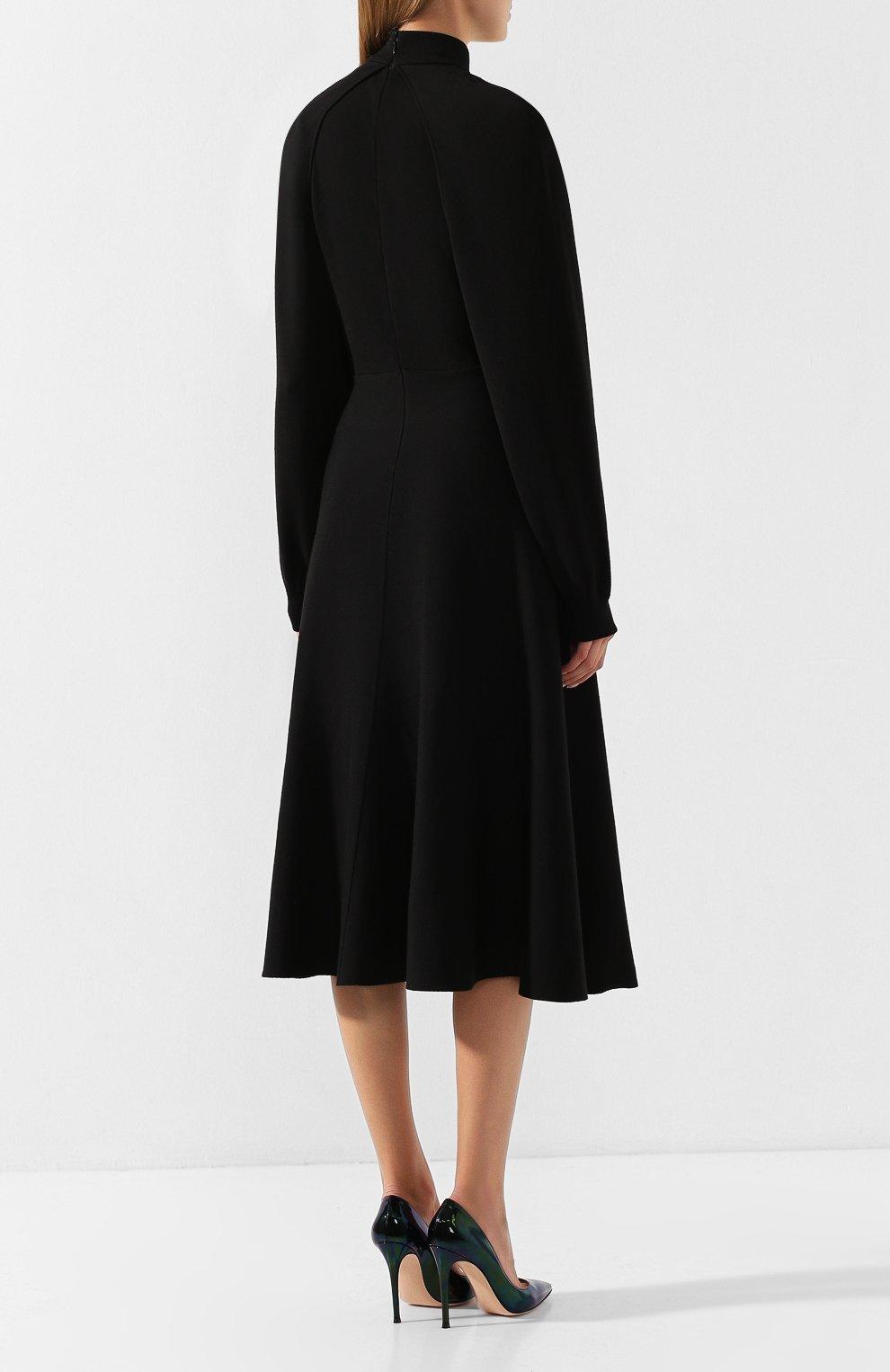 Платье из смеси шерсти и вискозы Givenchy черное | Фото №4