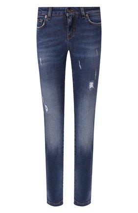 Женские джинсы с потертостями DOLCE & GABBANA синего цвета, арт. FTAH7D/G898Q | Фото 1
