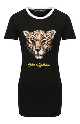 Женская хлопковая футболка DOLCE & GABBANA черного цвета, арт. F8H32Z/G7TAX | Фото 1