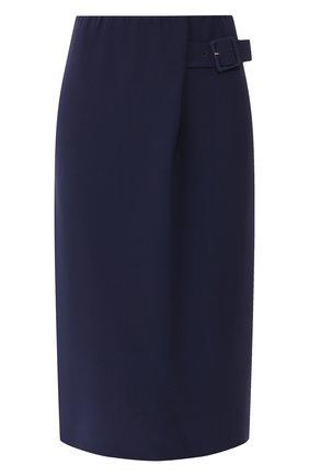 Женская шелковая юбка GIORGIO ARMANI синего цвета, арт. 9WHNN020/T0010 | Фото 1