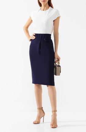 Женская шелковая юбка GIORGIO ARMANI синего цвета, арт. 9WHNN020/T0010 | Фото 2 (Длина Ж (юбки, платья, шорты): Миди; Статус проверки: Проверено, Проверена категория; Материал внешний: Шелк)