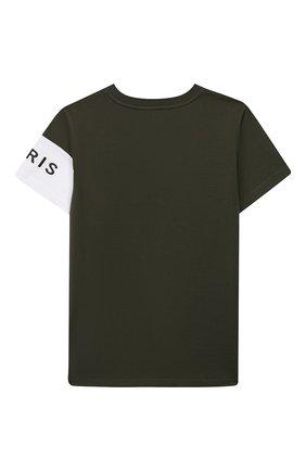 Детская хлопковая футболка GIVENCHY хаки цвета, арт. H25138 | Фото 2