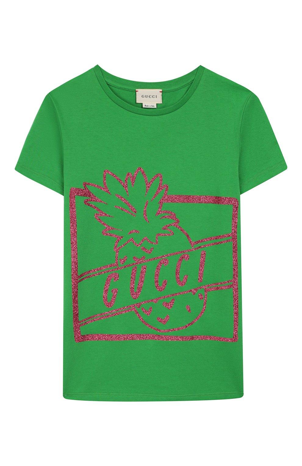 Детская хлопковая футболка GUCCI зеленого цвета, арт. 554879/XJBJ6   Фото 1
