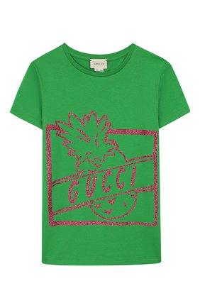 Детская хлопковая футболка GUCCI зеленого цвета, арт. 554879/XJBJ6 | Фото 1