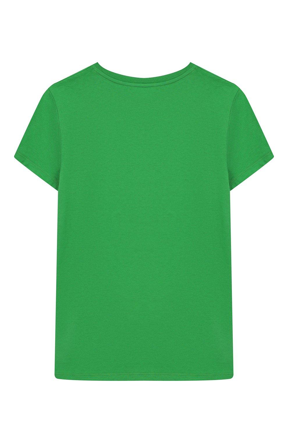 Детская хлопковая футболка GUCCI зеленого цвета, арт. 554879/XJBJ6   Фото 2