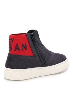 Детские замшевые ботинки Hogan черного цвета | Фото №3