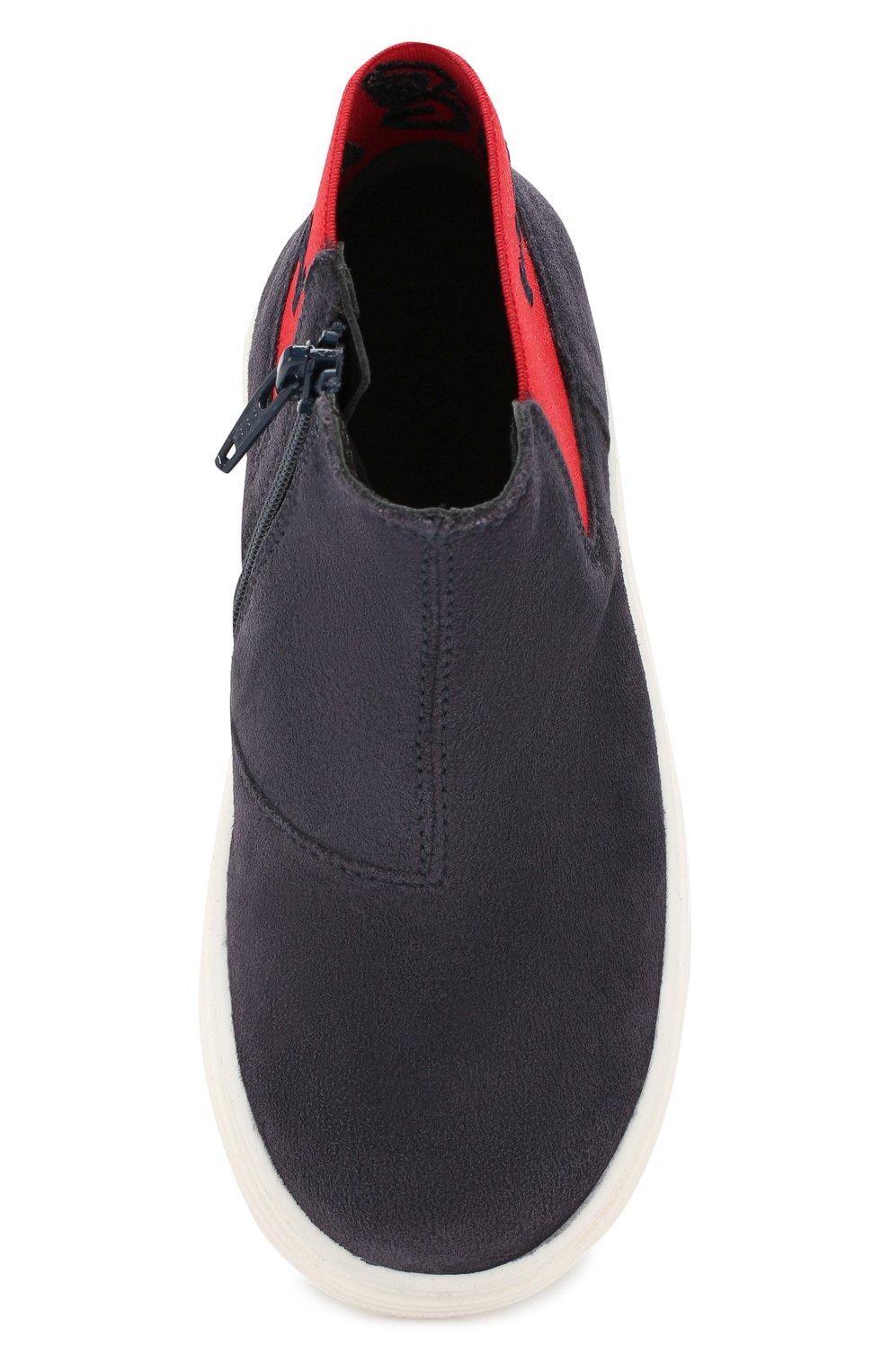 Детские замшевые ботинки Hogan черного цвета | Фото №4