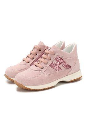 Детские замшевые кроссовки HOGAN розового цвета, арт. HXT09200240M9Z | Фото 1
