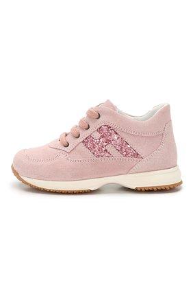 Детские замшевые кроссовки HOGAN розового цвета, арт. HXT09200240M9Z | Фото 2