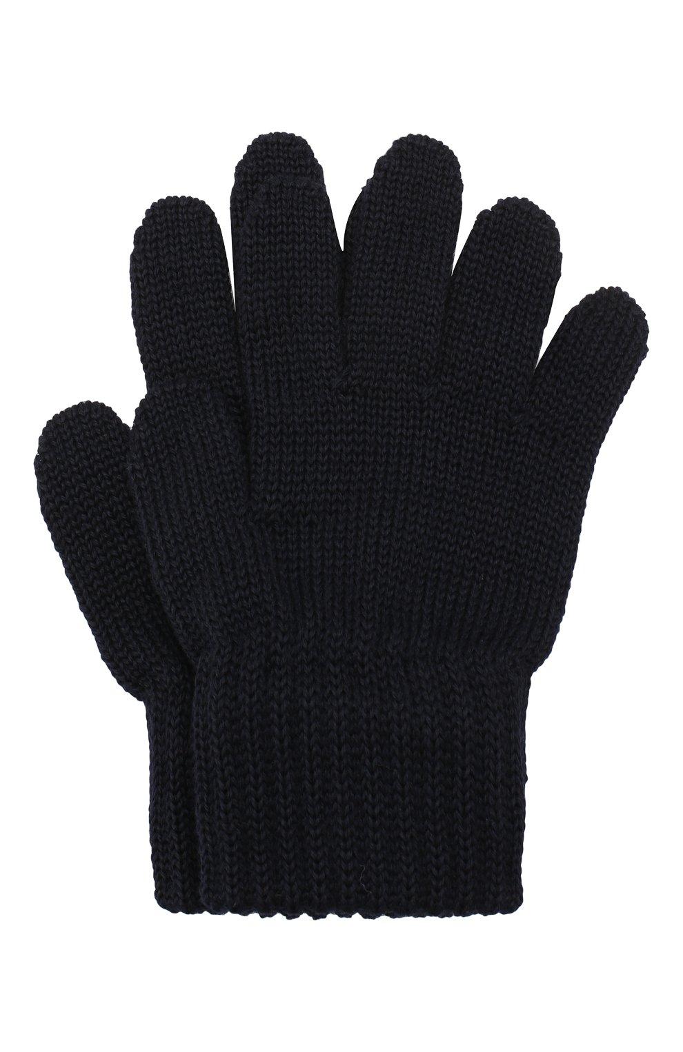 Детские шерстяные перчатки CATYA темно-синего цвета, арт. 923531   Фото 1