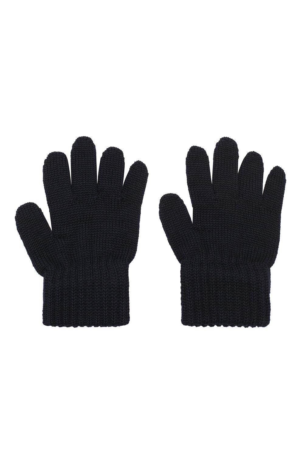 Детские шерстяные перчатки CATYA темно-синего цвета, арт. 923531   Фото 2