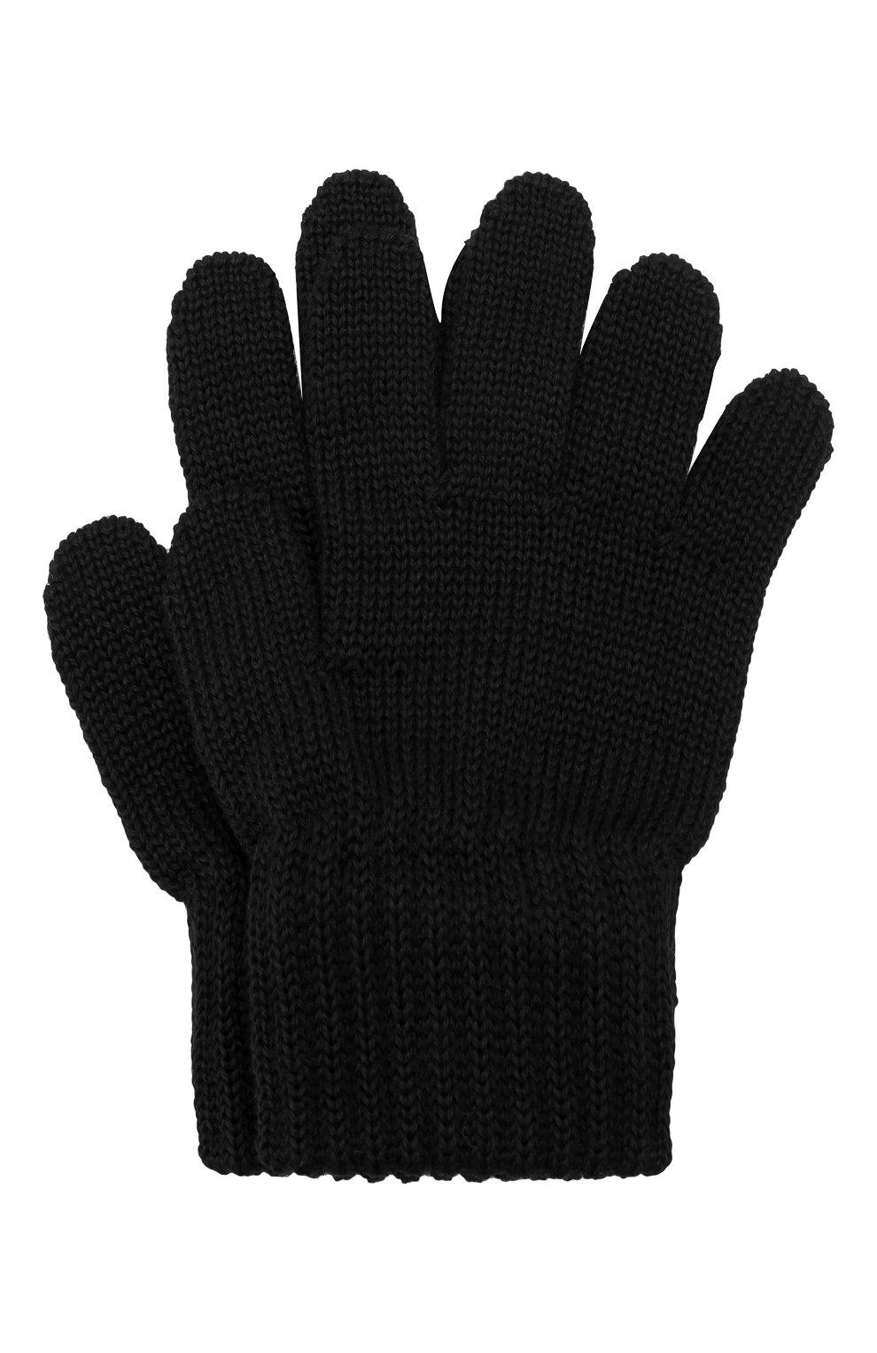 Детские шерстяные перчатки CATYA черного цвета, арт. 923531 | Фото 1 (Материал: Шерсть; Статус проверки: Проверено, Проверена категория)