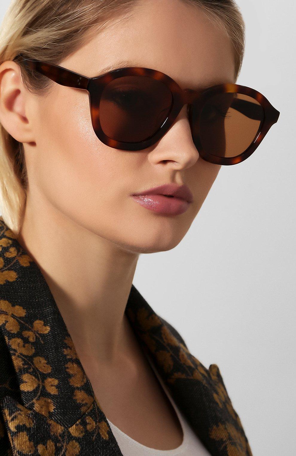 Женские солнцезащитные очки CELINE EYEWEAR коричневого цвета, арт. CL40017F 53E | Фото 2