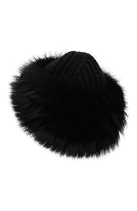 Женский кашемировая шапка с мехом лисы DOLCE & GABBANA черного цвета, арт. FX553T/JAWQV | Фото 2
