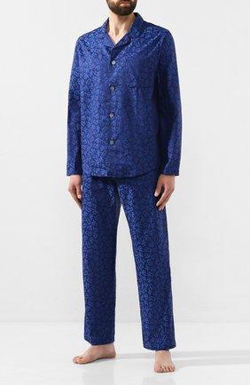 Мужская хлопковая пижама DEREK ROSE темно-синего цвета, арт. 5065-PARI016 | Фото 1