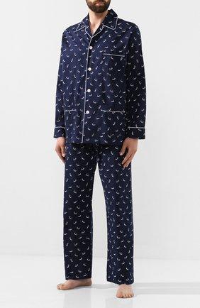 Мужская хлопковая пижама DEREK ROSE темно-синего цвета, арт. 5005-NELS070 | Фото 1