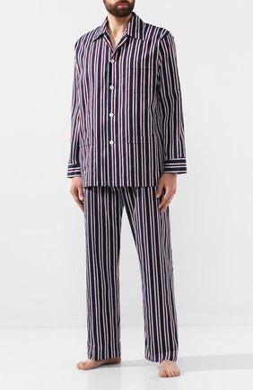 Мужская хлопковая пижама DEREK ROSE темно-синего цвета, арт. 5000-R0YA214 | Фото 1