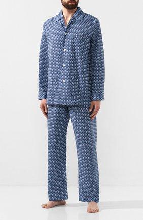 Мужская хлопковая пижама DEREK ROSE темно-синего цвета, арт. 5000-LEDB026 | Фото 1