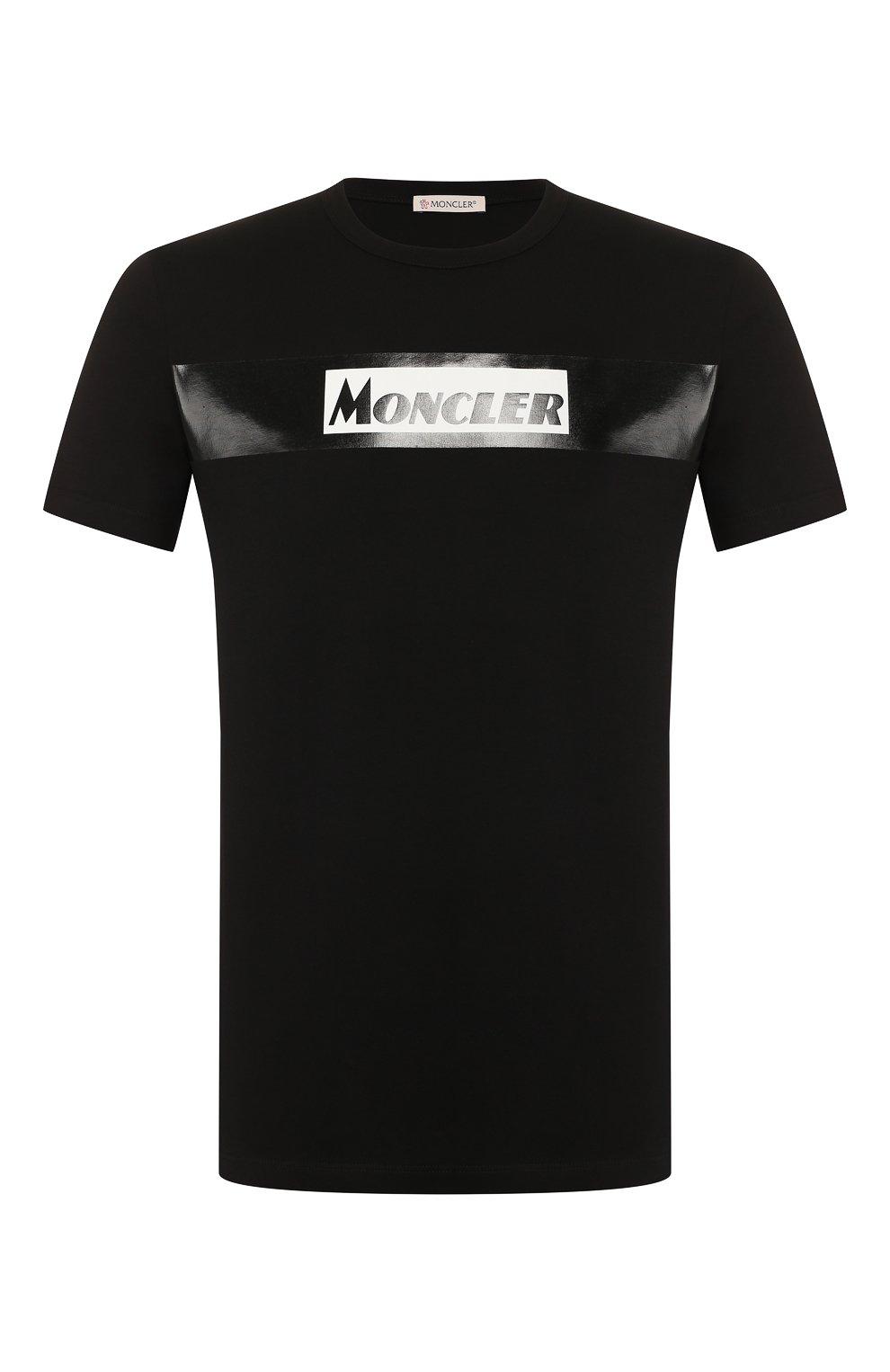 Мужская хлопковая футболка MONCLER черного цвета, арт. E2-091-80484-50-8390T | Фото 1
