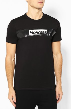 Мужская хлопковая футболка MONCLER черного цвета, арт. E2-091-80484-50-8390T | Фото 3