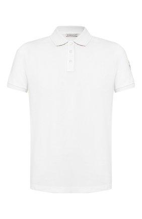 Мужское хлопковое поло MONCLER белого цвета, арт. E2-091-83051-50-84556 | Фото 1