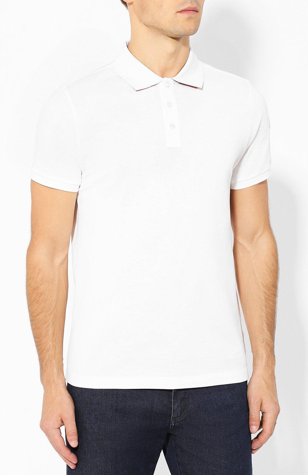 Мужское хлопковое поло MONCLER белого цвета, арт. E2-091-83051-50-84556 | Фото 3