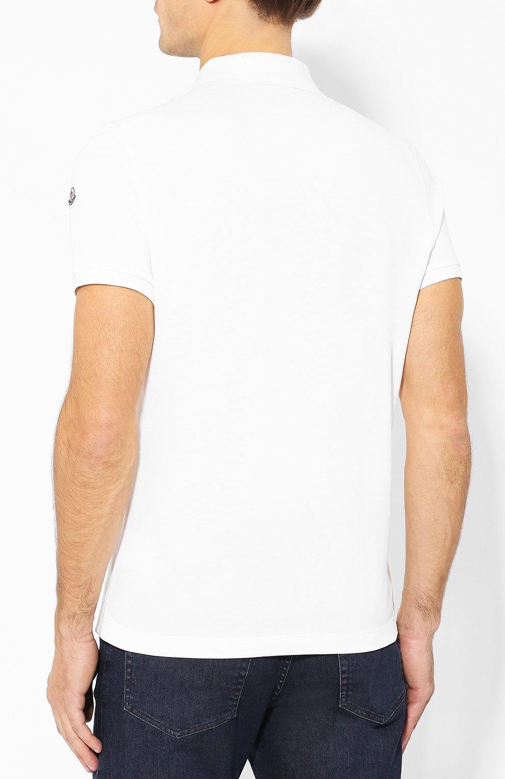 Мужское хлопковое поло MONCLER белого цвета, арт. E2-091-83051-50-84556 | Фото 4