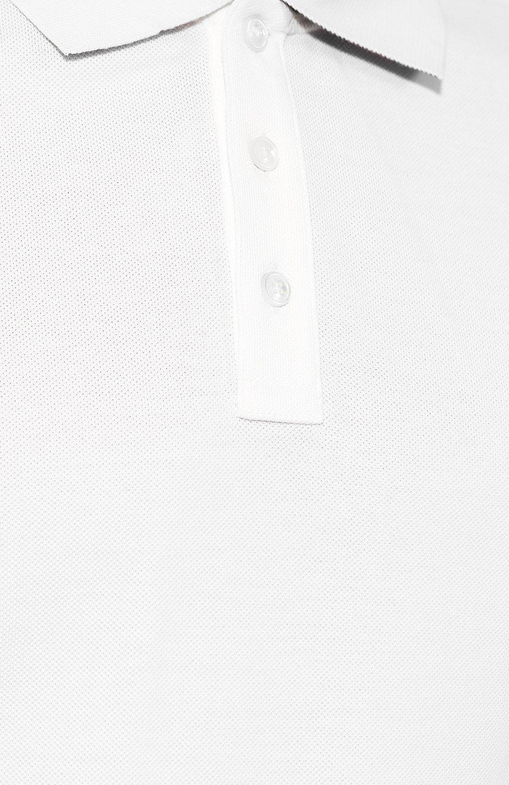 Мужское хлопковое поло MONCLER белого цвета, арт. E2-091-83051-50-84556 | Фото 5