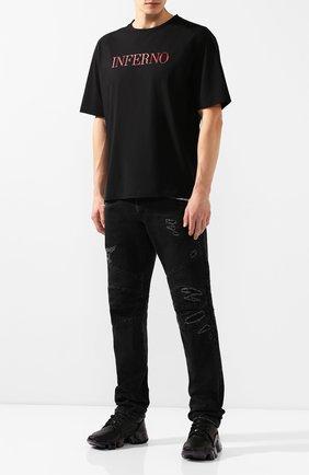 Мужская хлопковая футболка TRIPLE RRR черного цвета, арт. FW20 TS006 P9 7005 | Фото 2