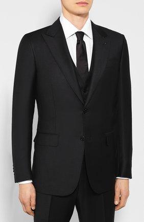 Мужской шерстяной костюм-тройка ERMENEGILDO ZEGNA черного цвета, арт. 616516/327B25 | Фото 2