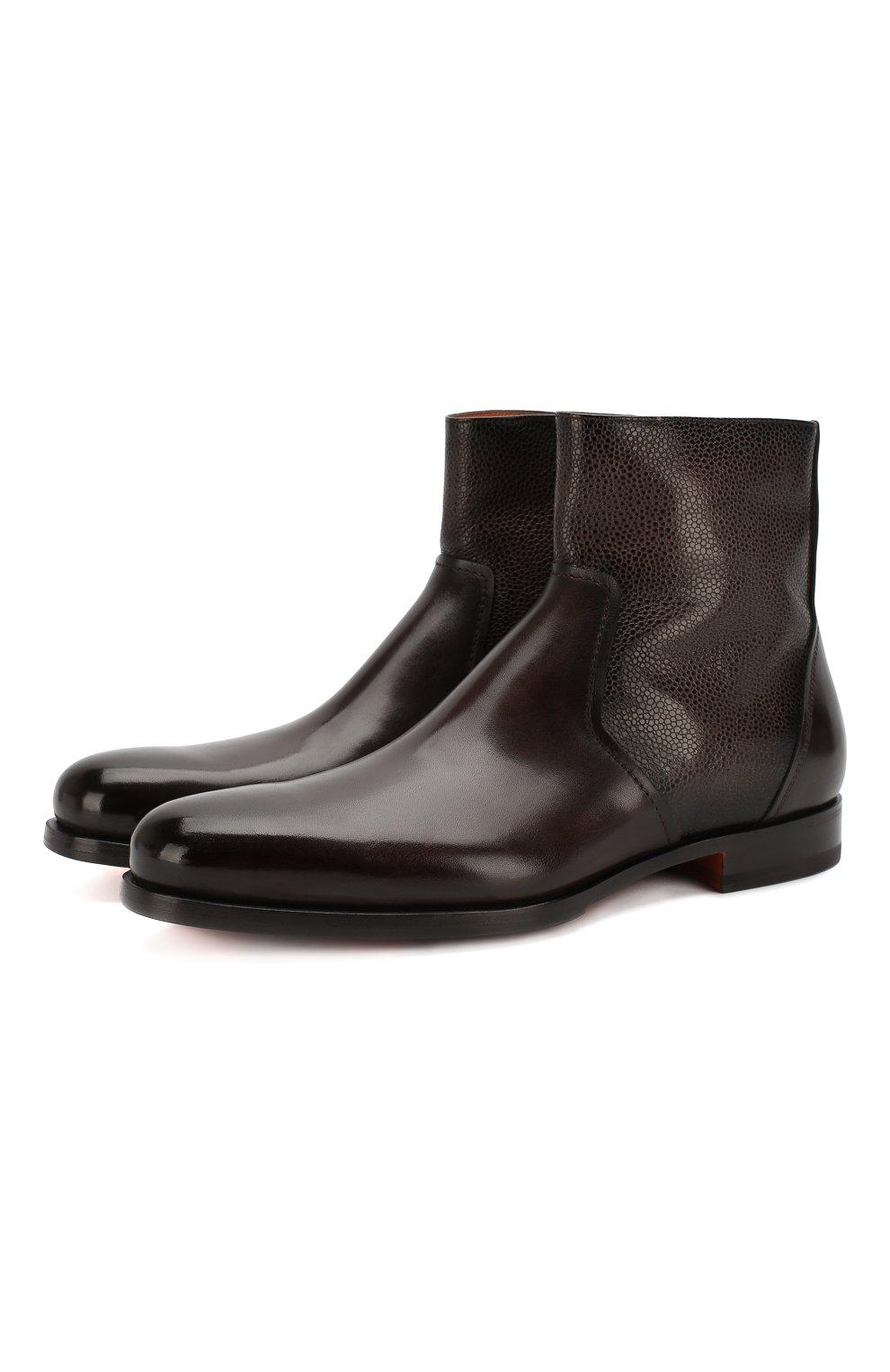 Мужские кожаные сапоги SANTONI темно-коричневого цвета, арт. MCAG16782BD1IDN0M56 | Фото 1