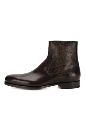 Мужские кожаные сапоги SANTONI темно-коричневого цвета, арт. MCAG16782BD1IDN0M56 | Фото 3