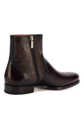 Мужские кожаные сапоги SANTONI темно-коричневого цвета, арт. MCAG16782BD1IDN0M56 | Фото 4