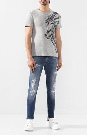 Мужская хлопковая футболка ALEXANDER MCQUEEN серого цвета, арт. 582943/QNZ3C | Фото 2