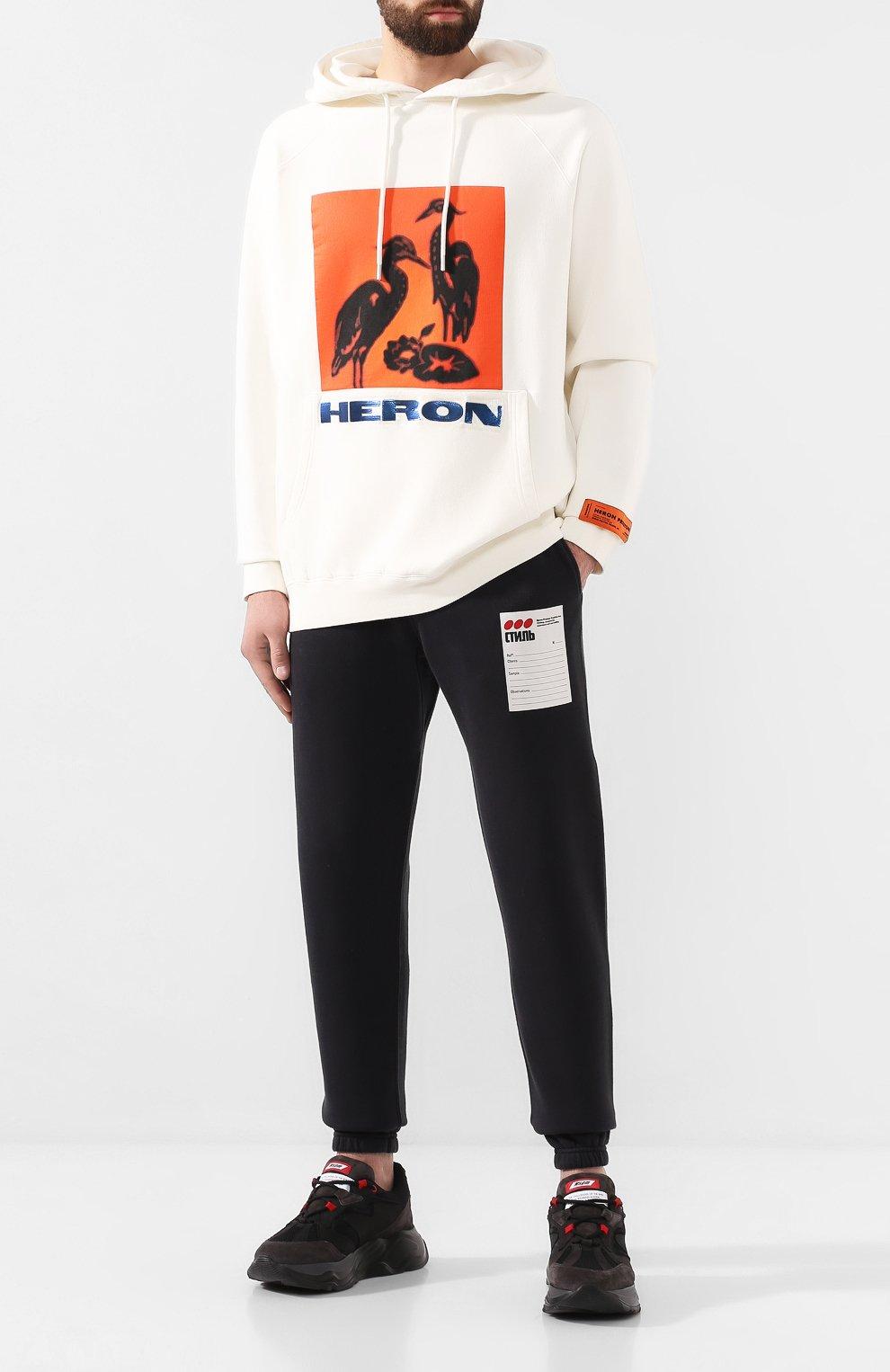Мужские хлопковые джоггеры HERON PRESTON черного цвета, арт. HMCH005F198080090488   Фото 2