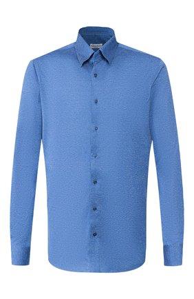 Мужская хлопковая рубашка ZILLI синего цвета, арт. MFS-MERCU-56051/RJ01 | Фото 1 (Материал внешний: Хлопок; Рукава: Длинные; Длина (для топов): Стандартные; Статус проверки: Проверено; Случай: Формальный; Воротник: Кент)