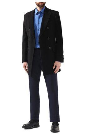 Мужская хлопковая рубашка ZILLI синего цвета, арт. MFS-MERCU-56051/RJ01 | Фото 2 (Материал внешний: Хлопок; Рукава: Длинные; Длина (для топов): Стандартные; Статус проверки: Проверено; Случай: Формальный; Воротник: Кент)