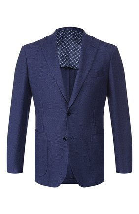 Мужской пиджак из смеси кашемира и шелка ZILLI синего цвета, арт. MNS-ECK1-2-B6628/0002   Фото 1