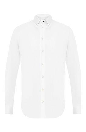 Мужская хлопковая сорочка GIORGIO ARMANI белого цвета, арт. 8WGCCZ97/JZ070 | Фото 1