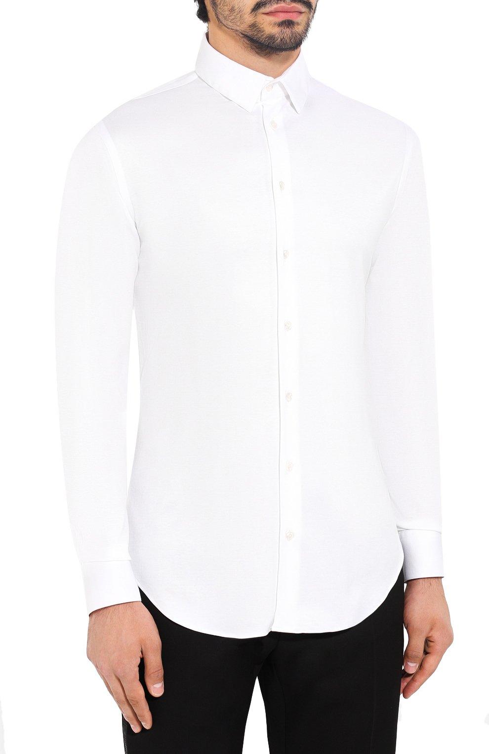 Мужская хлопковая сорочка GIORGIO ARMANI белого цвета, арт. 8WGCCZ97/JZ070   Фото 3