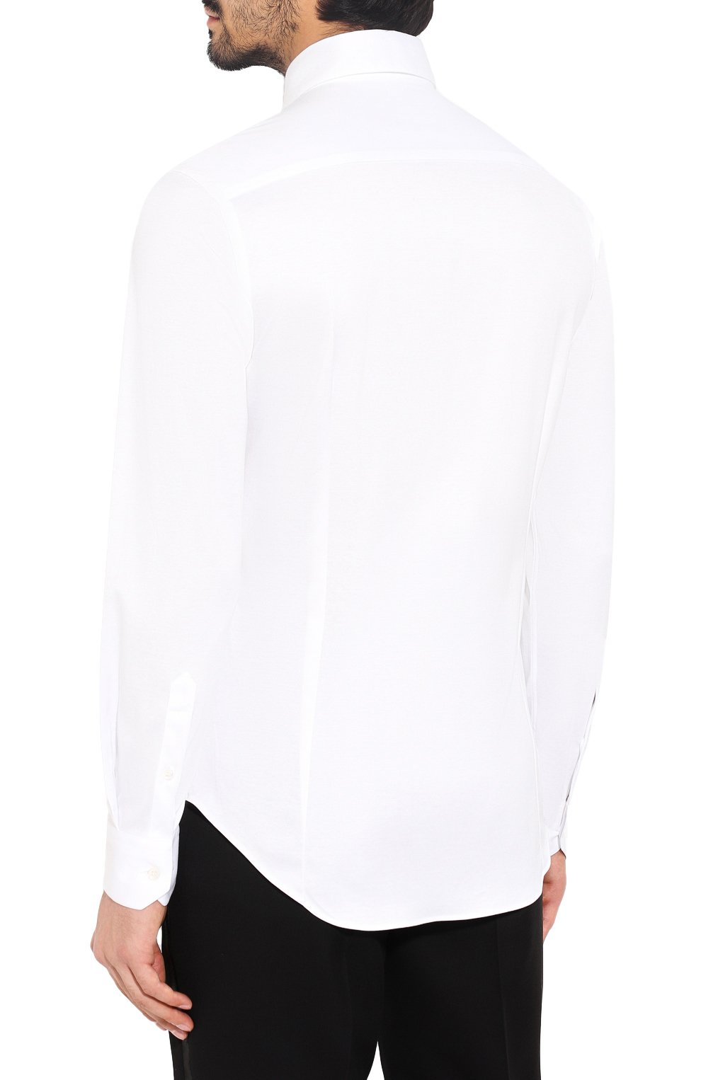 Мужская хлопковая сорочка GIORGIO ARMANI белого цвета, арт. 8WGCCZ97/JZ070   Фото 4