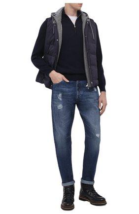 Мужские джинсы BRUNELLO CUCINELLI темно-синего цвета, арт. ME228X2350 | Фото 2