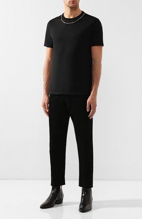 Мужская хлопковая футболка NEIL BARRETT черного цвета, арт. BJT627E/M581S | Фото 2