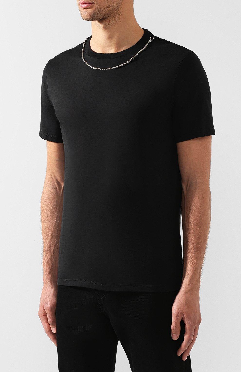 Мужская хлопковая футболка NEIL BARRETT черного цвета, арт. BJT627E/M581S | Фото 3