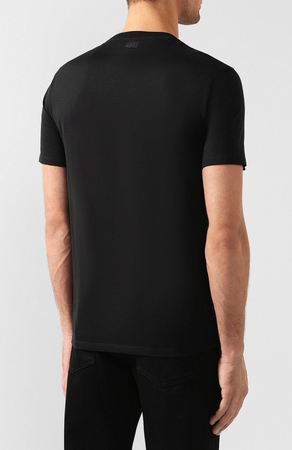 Мужская хлопковая футболка NEIL BARRETT черного цвета, арт. BJT627E/M581S | Фото 4