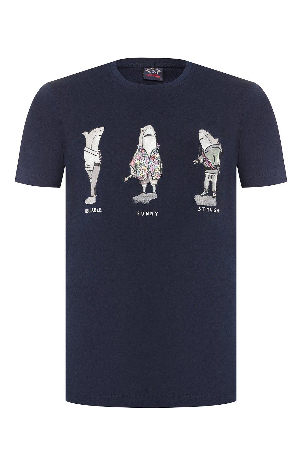 Мужская хлопковая футболка PAUL&SHARK темно-синего цвета, арт. A19P1659   Фото 1